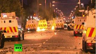 Belfast riots: Video of Irish youths attacking police vans