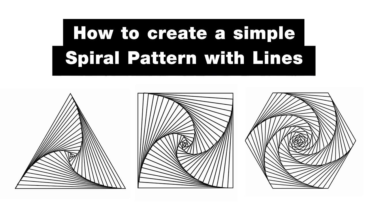 How to create a simple Spiral pattern with lines : วาดภาพลายเส้นเกลียวง่าย ๆ