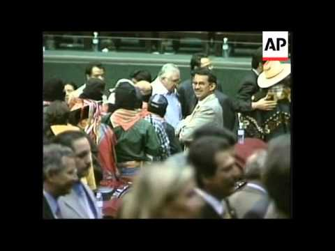 WRAP Zapatista rebels addressing congress with latest events - street demonstrations etc