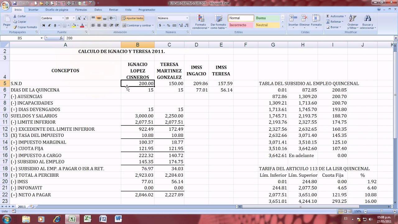 Excel 2007 buscar objetivo con sueldos y salarios for Como hacer una nomina en excel con formulas