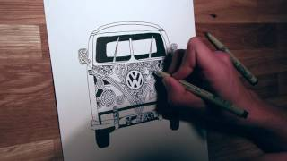 VW BUS ZENTANGLE DRAWING !!