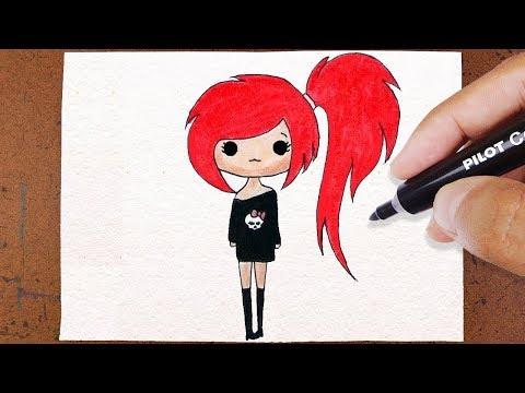 Como Desenhar Bonequinha Tumblr Roqueira How To Draw Youtube