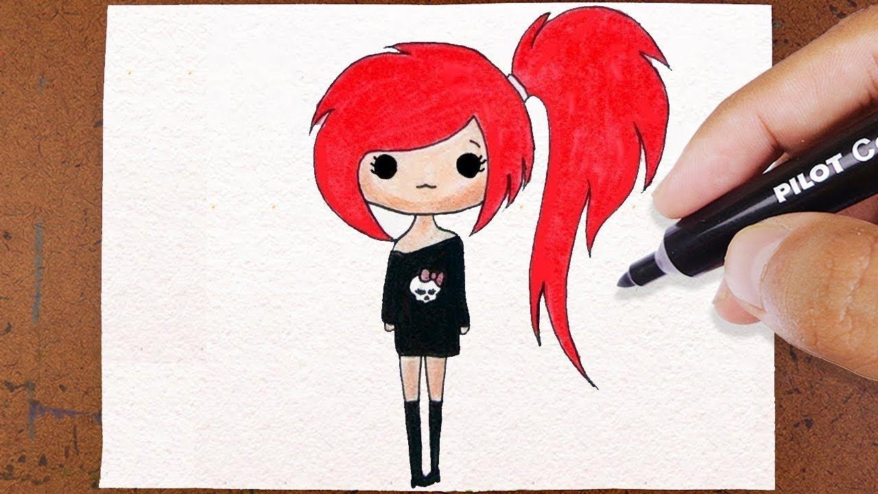 Como Desenhar Bonequinha Tumblr Roqueira How To Draw
