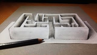Anamorphic 3D Drawing : The labyrinth