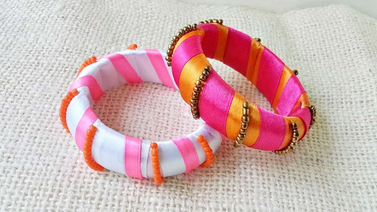How To Create Ribbon And Bead Wrapped Bangles