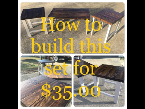 DIY | How to build Rustic Style end table, coffee table set for $35.00 | Living room furniture