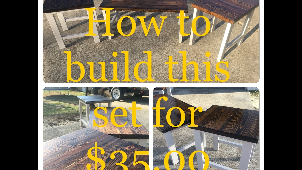 Diy how to build rustic style end table coffee table set for diy how to build rustic style end table coffee table set for 3500 living room furniture malvernweather Images