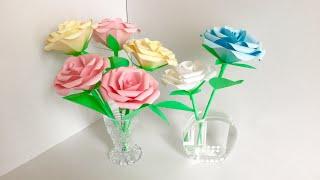 【ペーパーフラワー】茎付きのバラ  【paper flowers 】Roses with stems