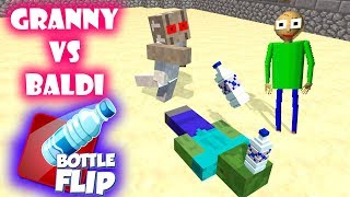 Monster School : Granny vs Baldi BOTTLE FLIP Challenge - Minecraft Animation