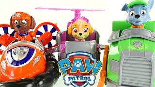 Paw Patrol Hovercraft High Flyin' Copter And Recycling Truck Toys! Rocky, Zuma, Skye