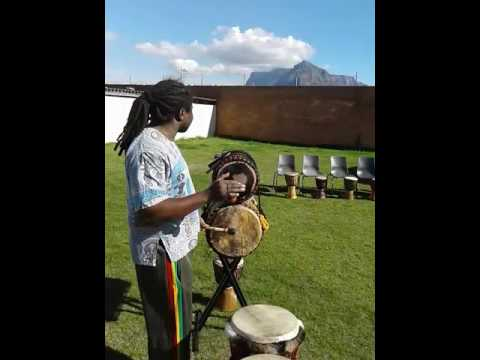 Dingiswayo Juma playing shaker and bass drum rhythms  - Juma Drums