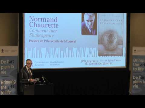 Normand Chaurette, 2012 Canada Council laureate - Governor General's Literary Awards