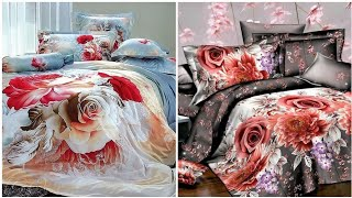 3d flower printed bed sheets designs for bridal