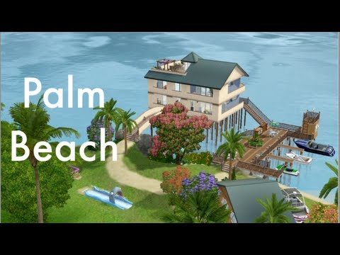 the sims 3 house building | palm beach - youtube