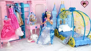 Barbie Princess Cinderella Bedroom -  Get Ready Routine with Pink Closet