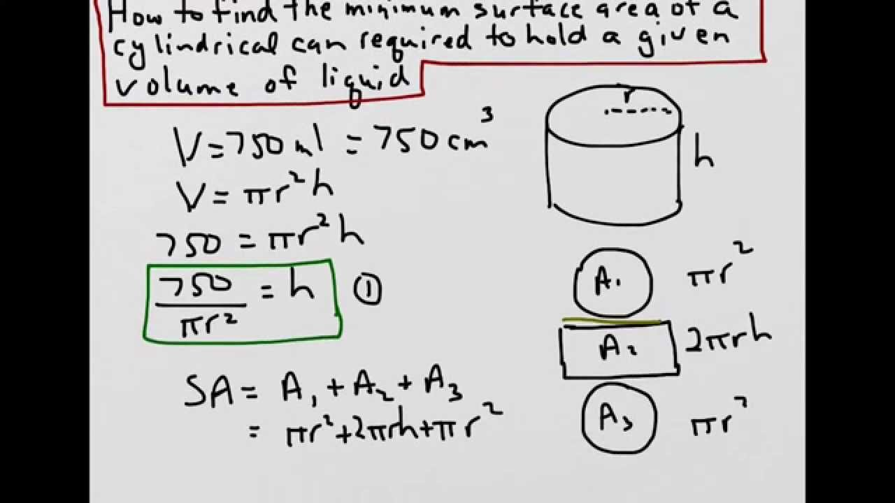 How to find the minimum surface area of a cylindrical can to hold how to find the minimum surface area of a cylindrical can to hold a given volume youtube ccuart Choice Image