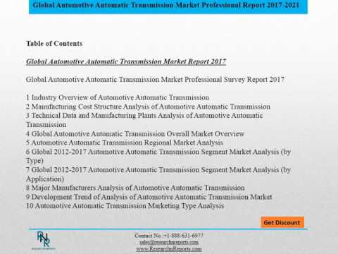 Global Automotive Automatic Transmission Market Survey Studied In detail