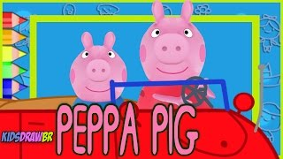 PEPPA PIG GEORGE PIG DRAWING MONSTER TRUCK ANIMATION   DRAW KIDS BR