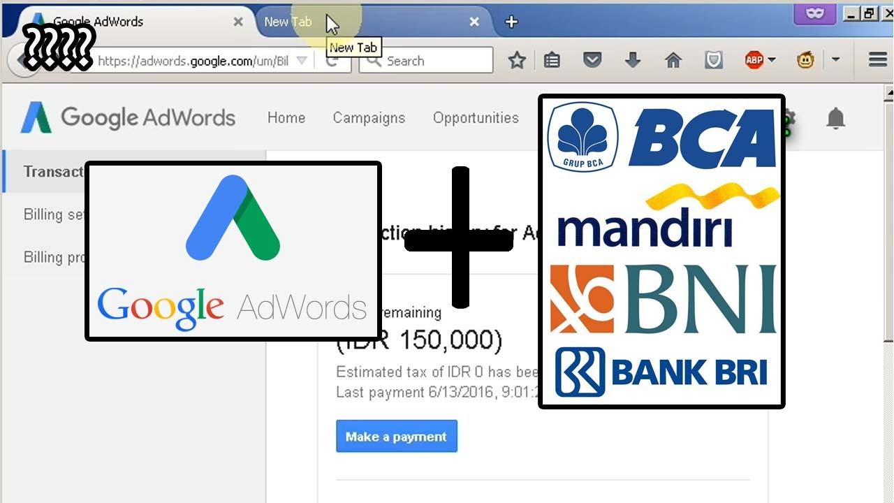Isi Saldo Google Adwords Lewat Internet Banking Tanpa Kartu Kredit Youtube