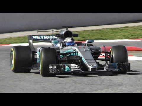 Mercedes W08 EQ Power+ F1 2017 - Hamilton & Bottas testing at Circuit de Barcelona-Catalunya