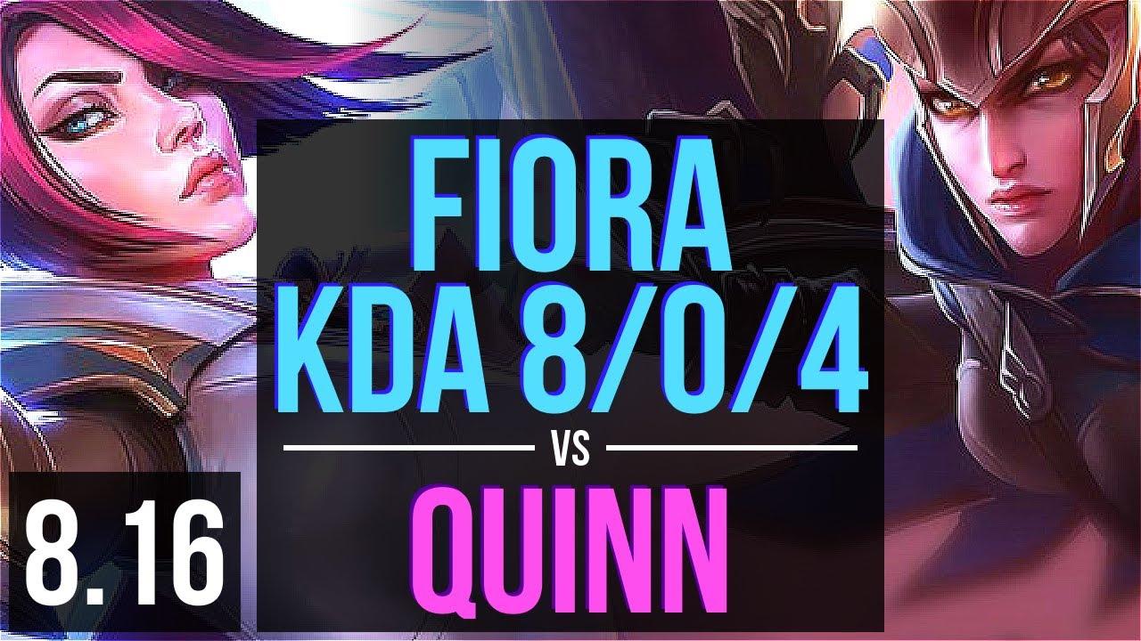 FIORA vs QUINN (TOP) ~ KDA 8/0/4, 500+ games, Legendary ~ Korea Diamond ~ Patch 8.16
