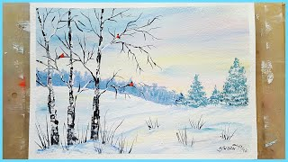 🎨Рисуем зимний пейзаж гуашью! Запись трансляции!