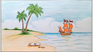 How to draw scenery of island with pencil color step by step