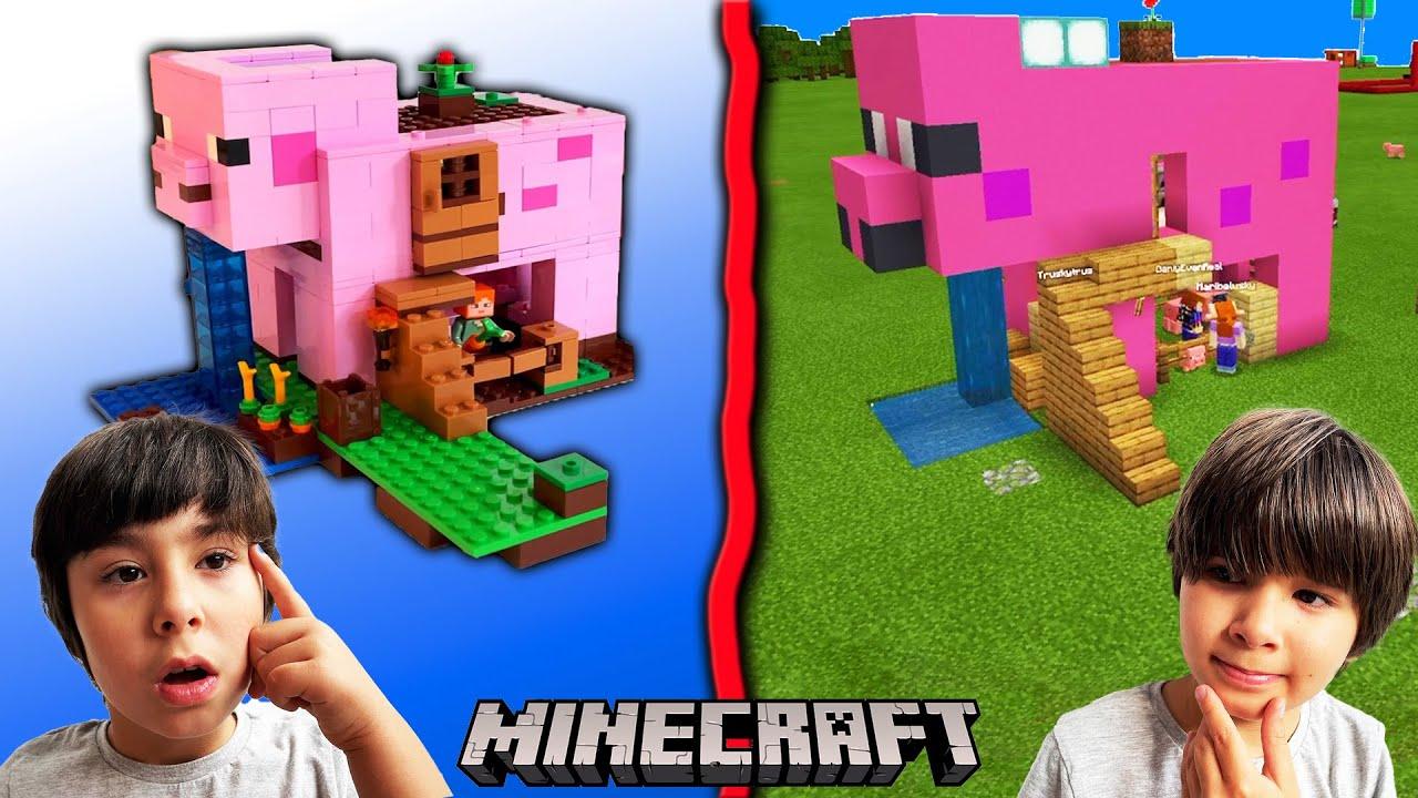 Dani y Evan construyen la CASA CERDO de LEGO en la VIDA REAL y luego en MINECRAFT