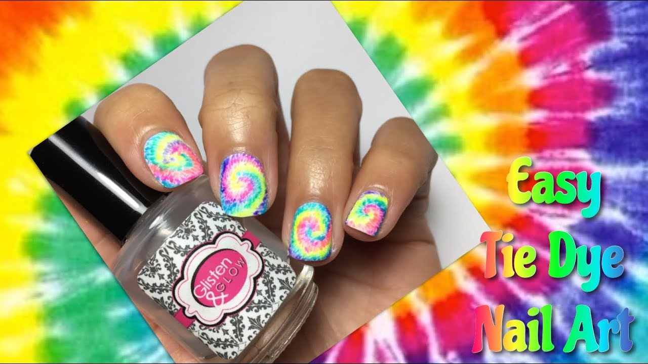 Easy Tie Dye Nail Art - YouTube