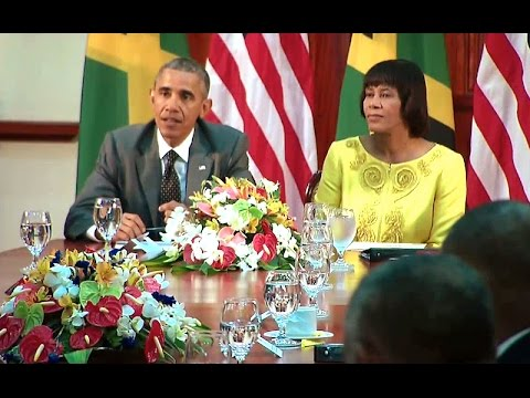 President Obama Meets With Prime Minister Portia Simpson Miller