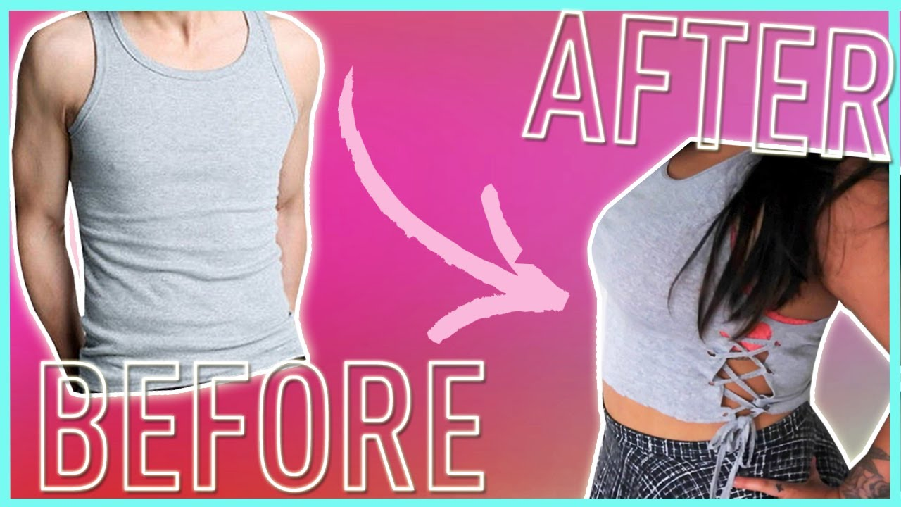 c32760303c64a DIY UPCYCLE WIFE BEATER TANK TOPS    NO SEW UPCYCLE TANK TOPS 3 DIFFERENT  WAYS!