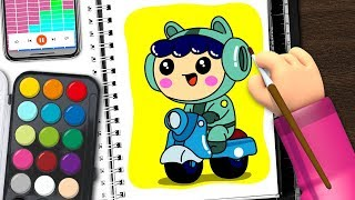 scooter rider drawing | cute drawing | Coloring & Drawing for Kids