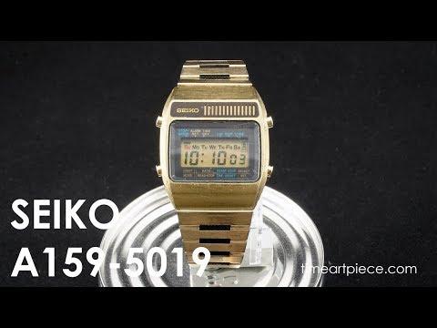 a652e4038 Seiko A159-5019 Vintage Digital LCD Chronograph Alarm Quartz Watch Gold -  YouTube