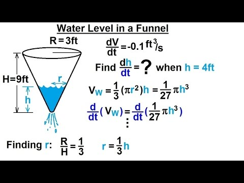 Calculus 1 - Derivatives and Related Rates (5 of 24) Water in a Funnel