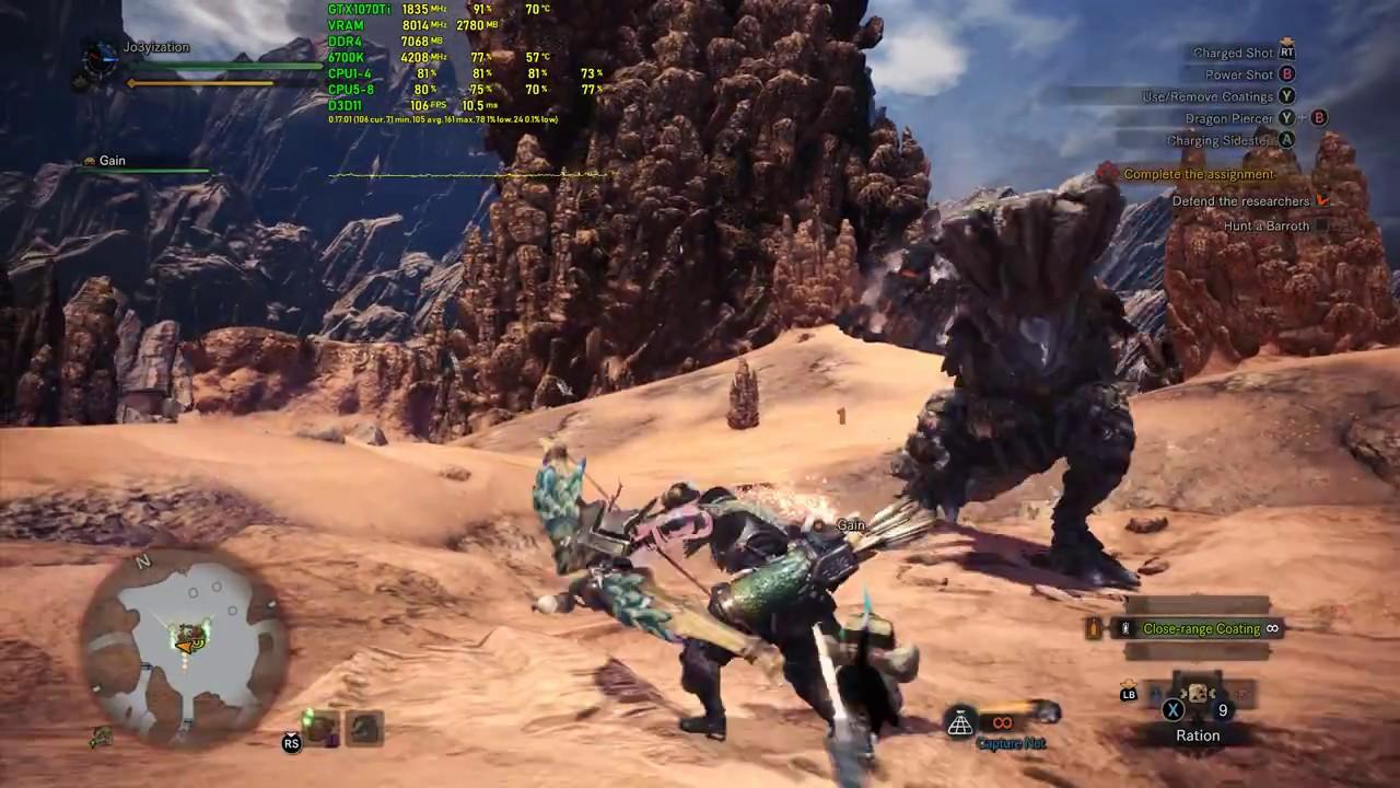 Monster Hunter: World - PC Gameplay FPS Test - 100Fps - GTX 1070 Ti +  i7-6700k 1080p