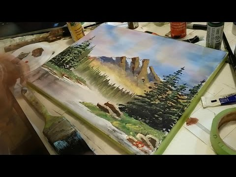 ULTRA FAST Bob Ross Landscape speed painting