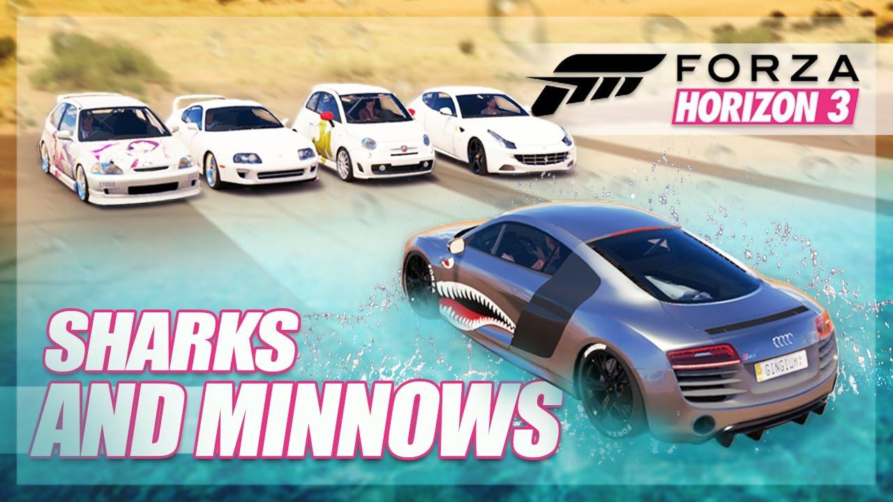 Forza Horizon 3 - Sharks and Minnows! (Mini Games & Random Fun)