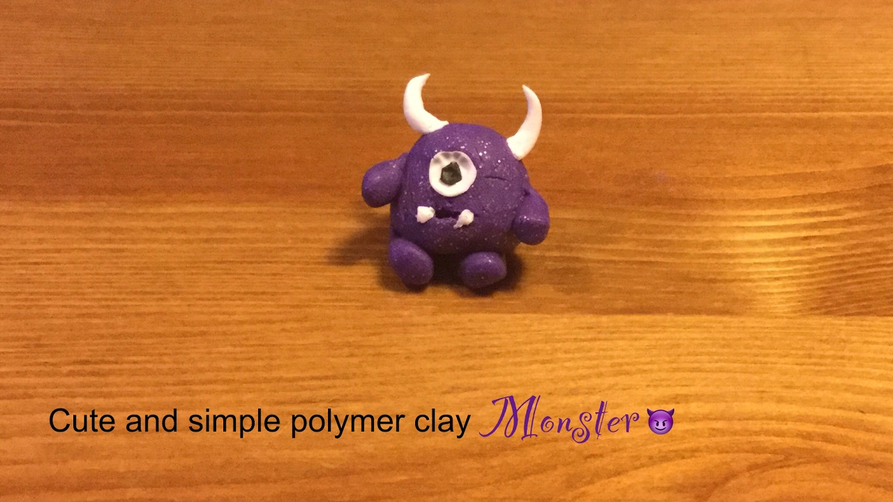 Simple And Cute Polymer Clay Monster Youtube