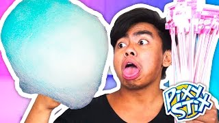 DIY How To Make PIXY STIX COTTON CANDY!