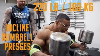 Download 220lb/100kg INCLINE DUMBBELL PRESS X5 Mp3 and Videos