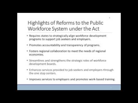Workforce Innovation and Opportunity Act: An Emphasis on Career Pathways