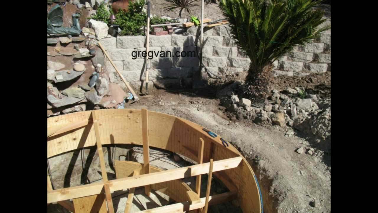 How to build backyard concrete pond or pool part four for Building a concrete pond