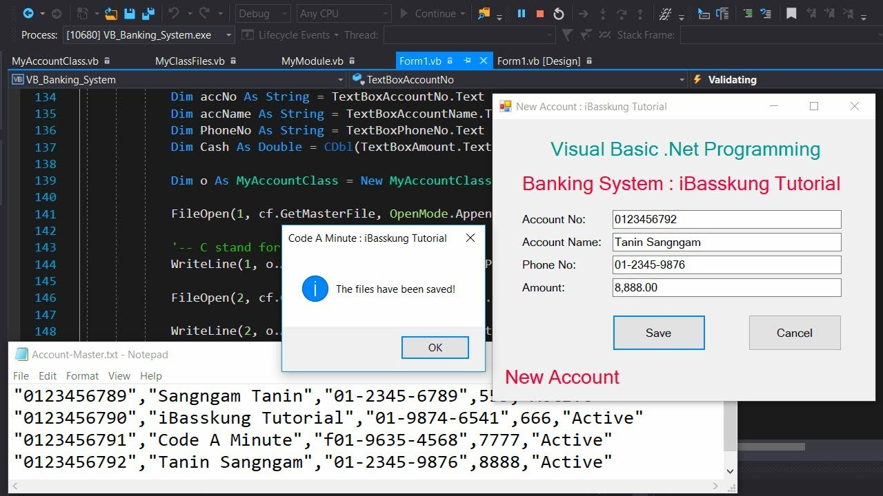 VB NET and Text or CSV file | How to Create a Bank Account Management  System (Part 1/3)