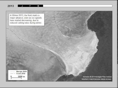 Glacier surge: Austfonna, Svalbard (satellite image timelapse)