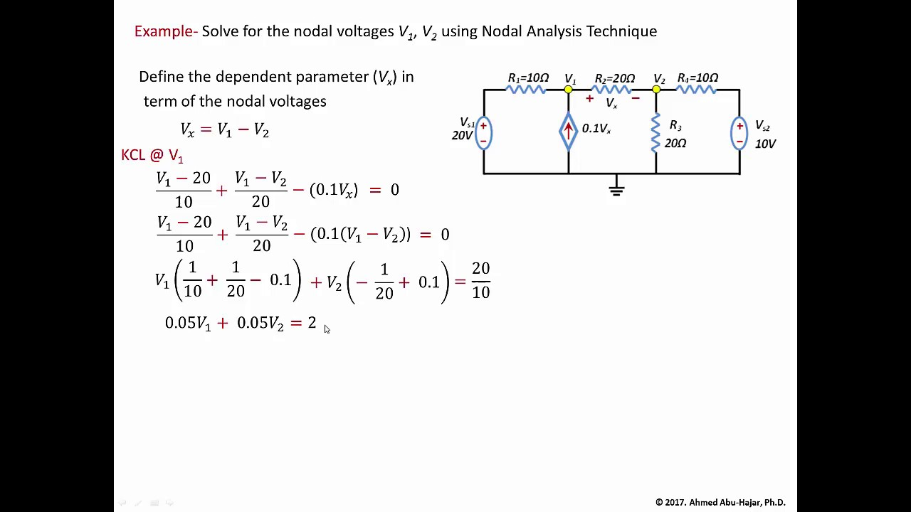Circuit Analysis - Nodal Analysis Example 2 (with dependent source)
