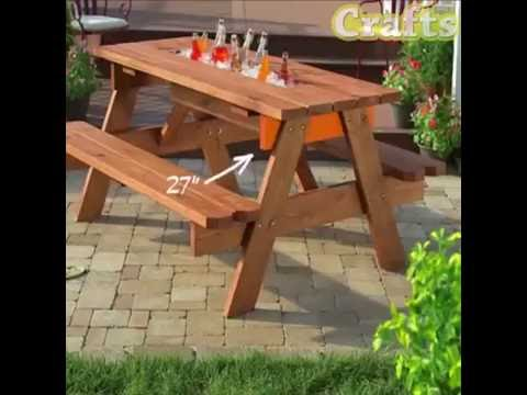 Diy picnic table with a built in cooler youtube Picnic table with cooler plans