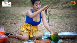 Cooking snake and beautiful girl cooking   Outdoor picnic   Countryside Food