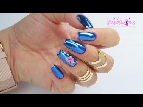 Beautiful Best Blue mirror nails art tutorial / Colours by Molly / Allepaznokcie thumbnail