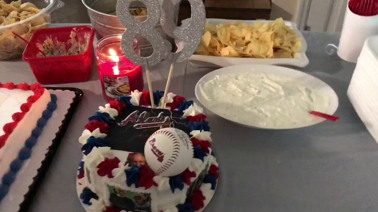 Pawpaws Surprise 89th Birthday Party Atlanta Braves Themed