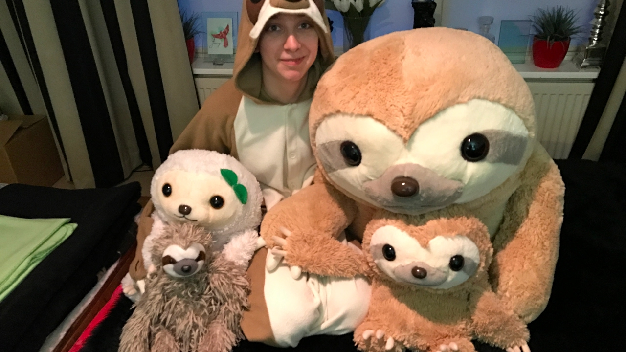 The Epic Unboxing Of Mikke The Sloth Plush Super Jumbo Style Youtube